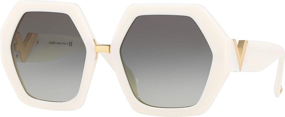 Valentino, occhiali da sole per donna, esagonali, avorio / grigio sfumato RESORT VA 4053C