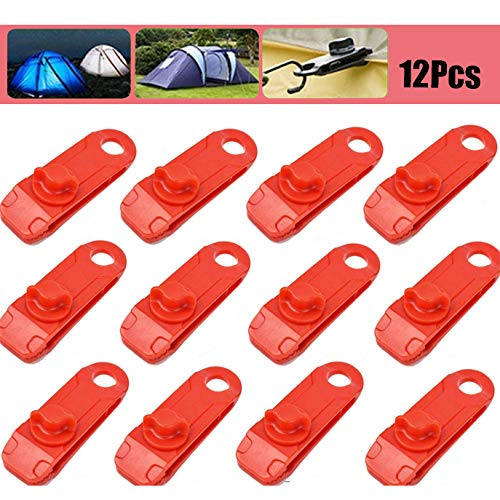 OLT-EU Tarp Canvas Clips Heavy Duty Lock Grip, 12 Pack Tarp Clamps Heavy Duty, Clamps Thumb Screw Tent Clip Awning Clamp Set for Outdoors Camping Farming Garden Tarps (Red)
