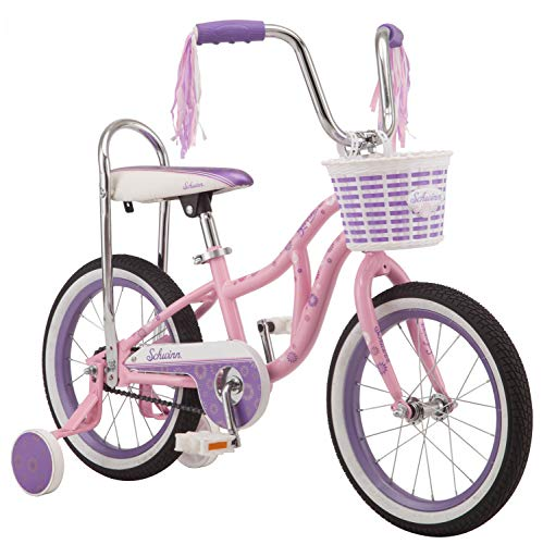 Schwinn 2019 Bloom Kids Bike, 16-inch Wheel, Training Wheels, Girls, Pink, Banana seat