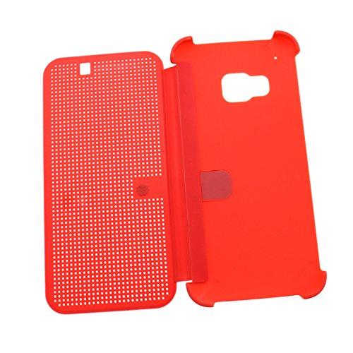 Für HTC One M9 Schutzhülle Tasche Smart Case Premium Hülle Tasche Dot Matrix View Book Rot
