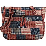 Bella Taylor Revere Everyday Tote Quilted Cotton Country Patchwork Shoulder Handbag; Classic Red, Navy and Soft White