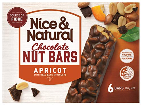 Nice & Natural Apricot Roasted Nut Bars with Real Dark Chocolate, 180 g