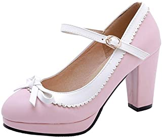 RAZAMAZA Women Retro Mary Jane Court Shoes High Block Heel