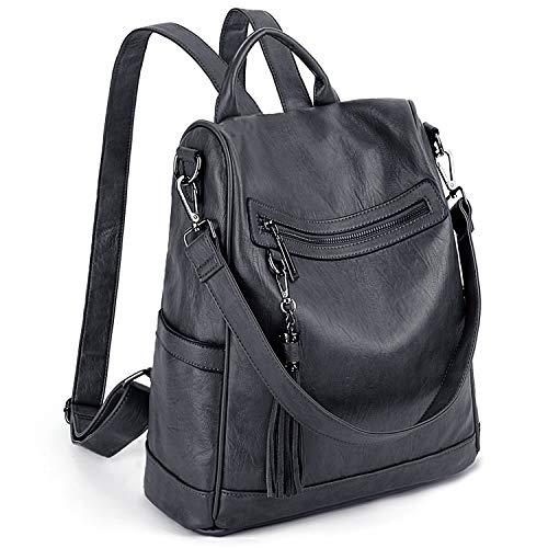 UTO Rücksack Damen Daypack PU Leder mit Quaste diebstahl Schultertasche Grau