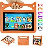 Kids Case for H D 8 inch Tablet Case, Auorld Light Weight Shock Proof Handle Stand Kid –Proof Cover Case for 8 inch Tablet (Compatible with 2018/2017/2016 Release) Orange