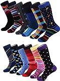 Marino Men's Dress Socks - Colorful Funky Socks for Men - Cotton Fashion Patterned Socks - 12 Pack - Cool Collection - Sock size: 10-13