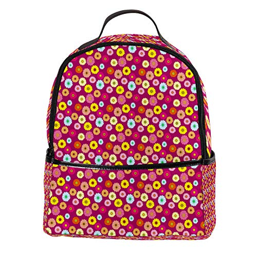 AITAI PU Leather Backpack Colorful Floral Pattern Outdoor School College Bookbag fit Backpack for Man and Woman