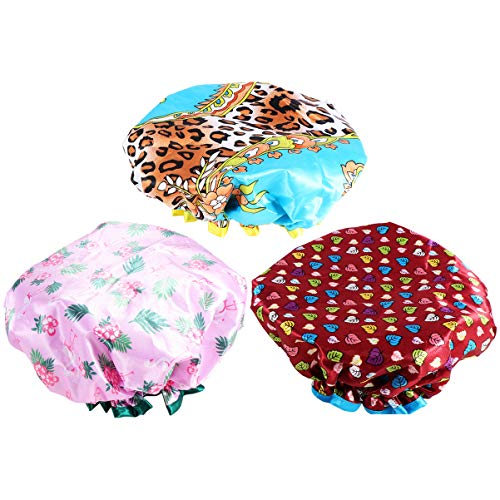 HEALLILY Shower Caps 3Pcs Waterproof Double-Layers Hair Bathing Caps Adjustable Drying Caps for Women Ladies Shower Bathing