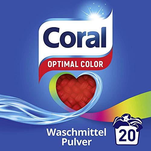Coral Waschmittel Pulver für bunte Wäsche – 20 Waschladungen hygienisch reine Wäsche, extra stark gegen Flecken – Optimal Color Waschmittelpulver ( 1 x 1,4 L)