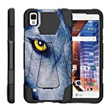 TurtleArmor | Compatible with LG Tribute HD Case | LG Volt 3 | LG X Style [Dynamic Shell] Hybrid Duo Cover Impact Shock Silicone Kickstand Hard Shell Animal - Wolf Eye