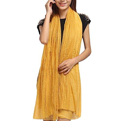 Pashmina amarillo suave con flecos para mujer
