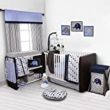 Bacati - Elephants Blue/Grey 10-Piece Nursery in a Bag Boys Crib Baby Bedding