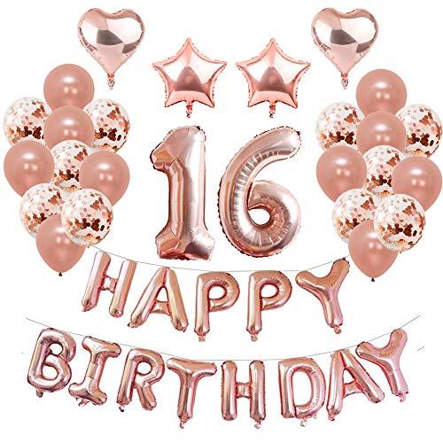 Weimi 16. Geburtstag Dekoration für Mädchen 39 Stück Ballons Set Ballons für Frauen Konfetti Ballons