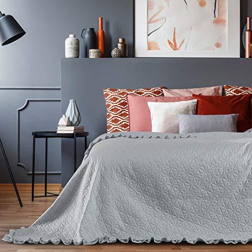AmeliaHome Velvet Tagesdecke, Polyester, Tilia Silber, 220x240 cm