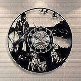 WYDSFWL Reloj de Pared Hunt Hobby Vinilo Reloj de Pared cumpleaños diseño Vintage Oficina Bar habitación en casa