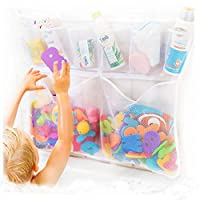 Tub Cubby Bath Toy Organizer with複数のポケット+ボーナスの4Heavy Dutyロックサクションカップと耐久性金型Resistantメッシュ洗濯可能+ Sure to Please 33W x 22L ホワイト 14209433