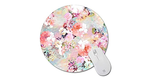 Bumstore Non-Skid Rubber Pad Personalized Round Desktop Mousepad Colorful Flower Design