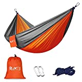 Greenmall Camping Hammock, Double Portable Soft Breathable Parachute Nylon Lightweight Hammock for Hiking Travel Backpacking Beach Garden, 660lbs Capacity (118'x78', Orange)