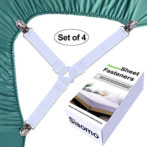 ZHOUBIN Bed Sheet Holder Strap Sheet Fastener with 4 Short and 4 Long Straps Bed Sheet Suspender Gripper with 2 Adjustable Buckles and Clips for Mattress Sofa Covers