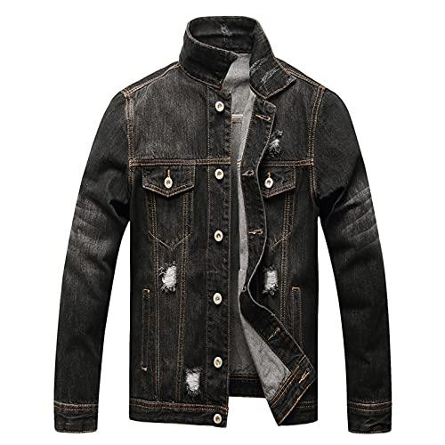 WXZZ Giacca in jeans da uomo vintage nero slim 3xl con 4 tasche, colletto alto in denim, giacca da ciclista, Nero , XL