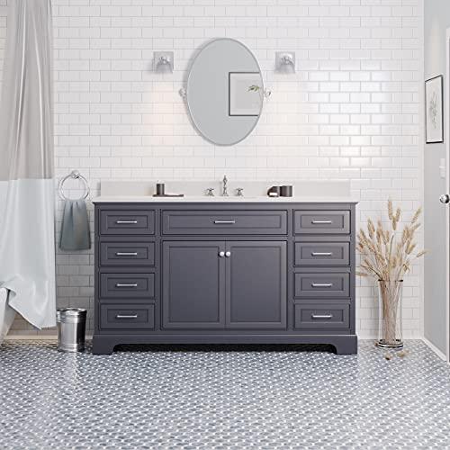 Aria 60-inch Single Bathroom Vanity (Quartz/Marine Gray): Includes Marine Gray Cabinet with Stunning Quartz Countertop and White Ceramic Sink