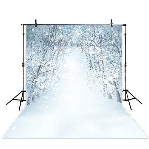 MEHOFOTO Fondo para estudio de fotografía de paisaje de nieve, invierno, Navidad, copo de nieve, paisaje, pinos, árboles, telones de fondo para fotografía infantil, 1,5 x 2,2 m