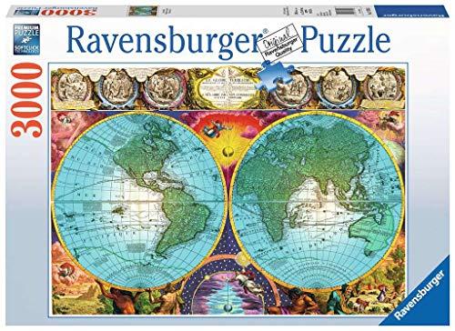 Ravensburger 17074 Antico Mappamondo, Puzzle 3000 Pezzi, Puzzle da Adulti