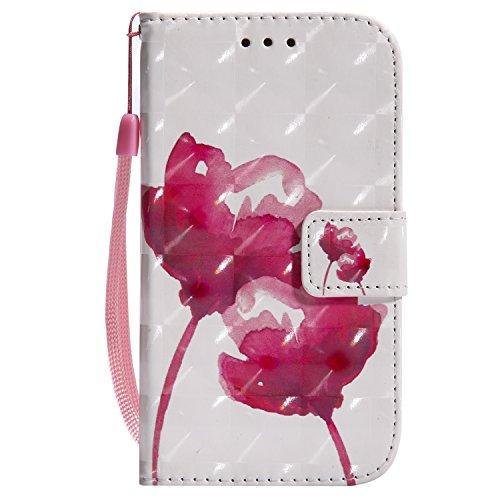 EUWLY Etui en Cuir Housse de Protection pour Galaxy S4 Ultra-Mince Slim-fit Anti Choc Coque avec Motif et Porte-Cartes,Rose Rouge