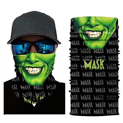 The Mask Jim Bandanas Green Face Unisex Mask Halloween Outdoor Dust Sun Protection Sweat Absorbing Neck Gaiter Headbands Decoration Horror Ghost Props