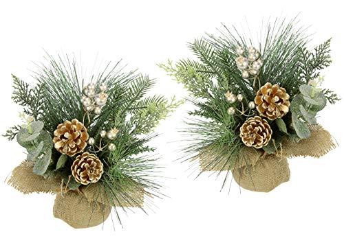 Gesteck aus Tanne Beeren/Zapfen in Jute-Topf 2er Set Weihnachtsarrangement Künstliche Weihnachtsblumen Kunstblume Winterblume Blume Pflanze Zweige Arrangement Weihnachtsdeko Tischdeko Weihnachten