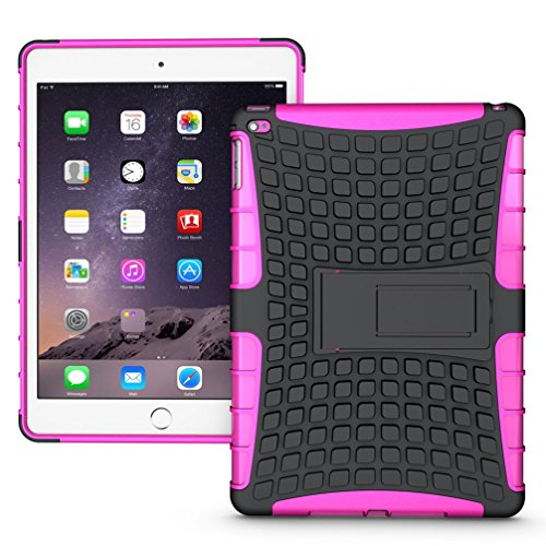 Extremely Cool Dual layer iPad Air 2 Case, Tab Pow [Hybrid Shockproof Case] Rugged Double-Layer Shock-Resistant Drop Proof Built-in stand Defender Case Cover with KickStand [Full Warranty] for Apple iPad Air 2 with Retina Display.(Pink)