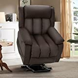 Esright Power Lift Chair Electric Recliner Sofa for Elderly, Faux Leather Electric Recliner Chair with Heated Vibration Massage, Side Pocket and USB Port, Dark Brown