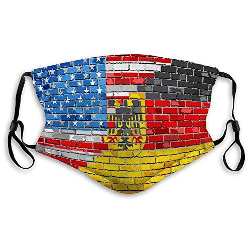 Half Face Shield für Frauen Männer und Kinder Brick Wall USA und Deutschland Flags Half Face Shield