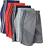 5 Pack- Men's Active Shorts Quick-Dry Lightweight Workout Gym Basketball with Pockets (5PACK-Strips, Medium)