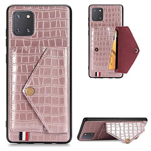 MAXJCN Funda para Samsung Galaxy A81/Note 10 Lite, funda protectora de piel sintética duradera con tapa trasera con ranura para tarjeta y marco de fotos (color rosa