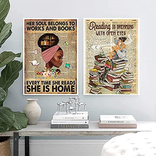 XMYC Cuadros de Pared Cita inspiradora para niñas Libros de Lectura de Amor para niñas Carteles Vintage Imágenes de cafetería Decoración2 Piezas 40x60cm sin Marco