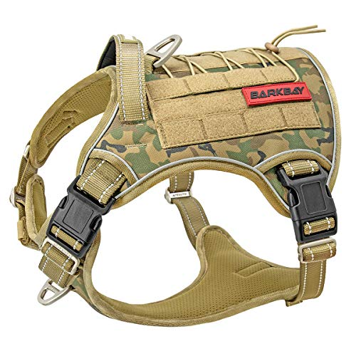Tactical Dog Harness Large,Military Service Weighted Dog Vest Harness Working Dog MOLLE Vest with Loop Panels,No-Pull Training Harness with Leash Clips for Walking Hiking Hunting(Camo,L)