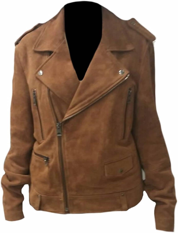 Classyak Women's Fashion Brando Style Heavy CowSuede Leather Biker Jacket