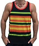 Exist Men's Rasta Colors Tank Top Shirt 356 Black Stripes S