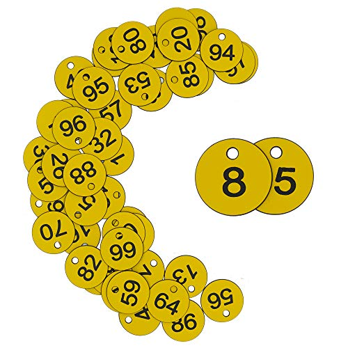 StayMax Plastic ID Number Tags Engraved Tags Key Tags Without Key Rings (1-50, Yellow)