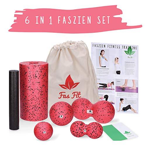 Fas Fit Faszienrolle - Foam Roller Set 6teilig - Massagerollen & Faszienbälle - Faszien Rolle für EIN effektives Faszientraining - inkl. Poster, Übungsheft, E-Book und Tasche (Rot - 6 in 1 Set)