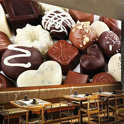 Muurstickers op maat moderne chocolade 3D foto muurschildering voor woonkamer restaurant dessert achtergrond stof 250 cm.
