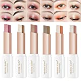 WENSUNNIE 12 Colors Eyeshadow Stick(2nd Gen Upgraded Rotation) - Double Colors Eye Shadow Stick Glitter Shimmer Gradient Makeup Waterproof Stick (6Pack)