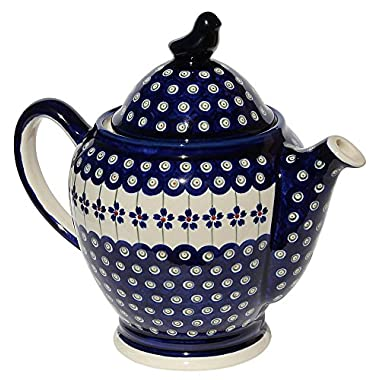 Polish Pottery Teapot From Zaklady Ceramiczne Boleslawiec #1233-166a Floral Peacock Pattern, Height: 6 3/4  (Measured to Top of Rim) Capacity: 64 Oz.