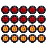 Meerkatt (Pack of 20) 3/4 Inch Mini Round 10 Amber + 10 Red LED Bullet Side Marker Clearance Lamp Indicator Light Flush Mount Kit Waterproof Camper Truck Boat Bus Pickup Trailer 12V DC Universal