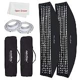 Godox Strip Box 14x63in / 35x160cm Bowens Mount Softbox with Honeycomb Grid Compatible Godox S-Type DE300 DE400 SK400 DP600 AD600BM AD400Pro Softbox (2PCS)