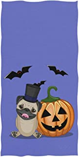 Wamika Halloween Cartoon Hand Towels Pug Dog With Pumpkin Bathroom Bath Towel Fingertip Towels Highly Absorbent for Bath,Hand,Face,Gym,Spa,30 X 15 Inch