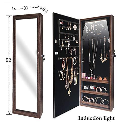 LHY SAVE Espejo de Joyería Montado en Pared Joyero Armario con Cerradura Y Luces LED Armario para Joyas,31 * 10 * 92cm,Marrón,Left Door