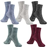 Women Winter Socks 5 Pairs Cotton Thick Knit Vintage Soft Cozy Casual Crew Socks (Multicolor10)