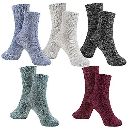 Womens Socks Winter Wool Socks Cozy Knit Warm Winter Socks for Women Soft Thick Thermal Wool Crew Socks Gift 5 Pack